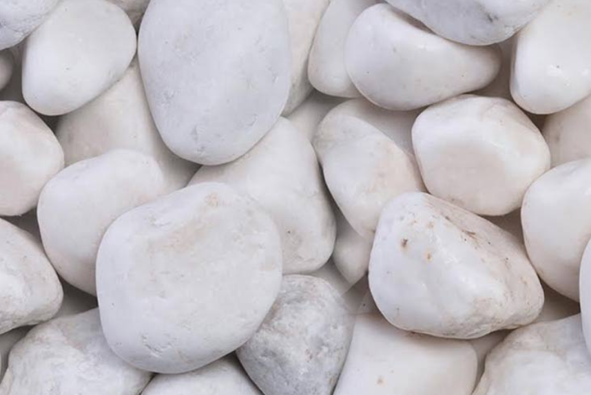 white ornate pebbles